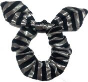 Black Siver Strip Bow Scrunchie.