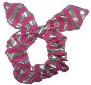 Pink Siver Strip Bow Scrunchie.