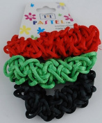 From Your Secret Admirer - Braided Ouchless Ponytail Hair Scrunchies - Red, Green, & Black