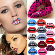 Dfunlife 10Pcs Fashionable Pattern Rubber Lips Tattoo Sticker - Random Colour and Pattern