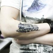 Train Tattoo, Temporary Tattoo, Body Tattoo, Tattoo Sticker