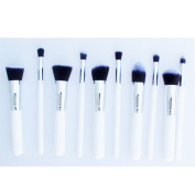 10 PCS Professional Lady Makeup Cosmetic Brush Set Blending Shadow Powder Foundation Eyeshadow Blush Brushes White Stick Silver Pipe