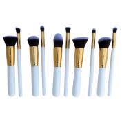 10 PCS Professional Lady Makeup Cosmetic Brush Set Blending Shadow Powder Foundation Eyeshadow Blush Brushes White Stick Golden Pipe