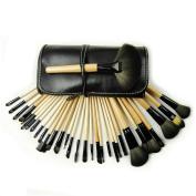32 PCS Premium Wool & Fibre Hair Makeup Brush Set Cosmetics Foundation Blending Blush Eyeliner Face Powder Brush Lipstick Brush Makeup Brush Kit Log Stick Black
