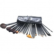 32 PCS Premium Wool & Fibre Hair Makeup Brush Set Cosmetics Foundation Blending Blush Eyeliner Face Powder Brush Lipstick Brush Makeup Brush Kit Grey