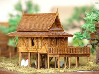 New 4x 13cm x 5 traditional cultural teak wooden thai for House models to build