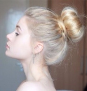 "SUPER BUN - BIG STYLED 30% LARGER ""AIRLINE STEWARDESS"" BUN - 60's LOOK - LIGHT BLONDE MIX"