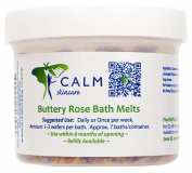 Calm Natural Eco Friendly Skincare, Buttery Rose Bath Melts, Approx. 7 baths/container, Net Wt 80ml