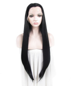 Marilyn Monroe Wig Extra Long Straight Synthetic Black Lace Front Wig