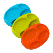 Boon Platter Edgeless Nonskid Divided Plate, Blue/Orange/Green