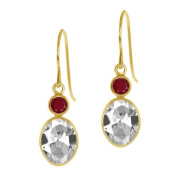 3.48 Ct Oval White Topaz Red Ruby 14K Yellow Gold Earrings
