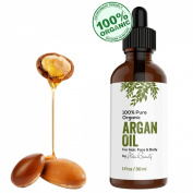 Virgin Argan Oil ★ Premium Quality 100% Organic For Hair, Skin, Face & Nails - Best Moroccan Anti-Ageing, Anti-Wrinkle, Anti-Oxidant Beauty Secret - Prevents Frizz & Increases Natural Hair Shine & Silkiness - Natural Skin Care Products for Women and  ..