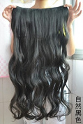 Long Curly Clip-on Hair Extension Wigs - Natural Black