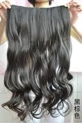 Long Curly Clip-on Hair Extension Wigs - Black Brown