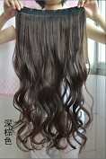 Long Curly Clip-on Hair Extension Wigs - Dark Brown