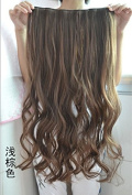 Long Curly Clip-on Hair Extension Wigs - Light Brown