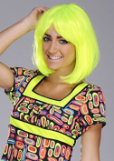 Deluxe 60's Lady Neon Yellow Bob Wig