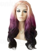 Uniwigs Allison Futura Synthetic Lace Front Wig, Ombre Blonde to Purple & black Colour