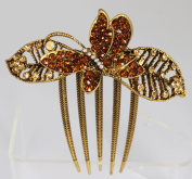 Vintage Style Comb with Butterfly and Crystals- Amber