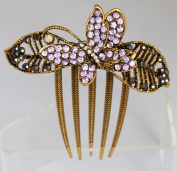 Vintage Style Comb with Butterfly and Crystals- Lavender