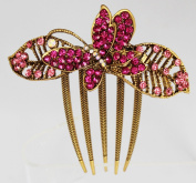 Vintage Style Comb with Butterfly and Sparkly Crystals - Pink