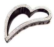 Vwhite Black Womens Rhinestones Heart Plastic Hair Claws Clips