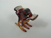 Charles J. Wahba Small 3-prong Hair Claw - With Sparkly Swarovski Crystals