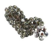 Crystal Heart and Flower Hair Clip - Grey
