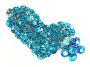 Crystal Heart and Flower Hair Clip - Aqua Blue