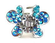 Crystal Butterfly Hair Clip - Aqua