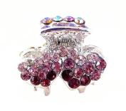 Crystal Double Hearts Hair Clip - Purple