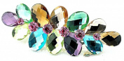 Vwhite Womens Flowers Crystal Rhinestones Hair Clips Accessories For Girl 7.1cm