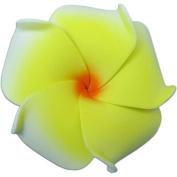 Foam Flower Medium Hair Clip Plumeria White, Yellow