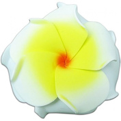 Foam Double Petal Flower Medium Hair Clip Plumeria White, Yellow