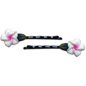 Fimo Hair Flower Mini Bobby Pin Set of 4 Plumeria White, Pink