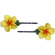 Fimo Hair Flower Small Bobby Pin Set of 2 Plumeria Yellow