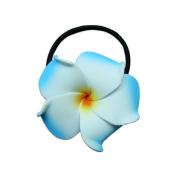 Foam Ponytail Hair Flower Plumeria Blue, White