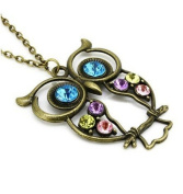 BUYINHOUSE Vintage, Retro Colourful Crystal Owl Pendant and Long Chain Necklace with Antiqued Bronze/Brass Finish