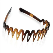 4cm Plastic Shark Tooth Zig Zag Hairband Alice Band in Tortoise Shell Brown