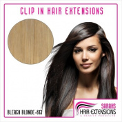 Bleach Blonde (613). Full Head. Clip in Human Hair Extensions. High Quality Remy Hair Any Length! 120g Weight