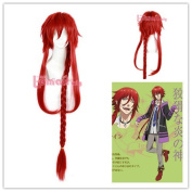 L-email 100cm Long Wine Red Braid Cosplay Wig ML200