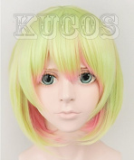 No Game No Life Gorgeous TAT Short Green Blond Pink Cosplay Costume Wig Party Hair