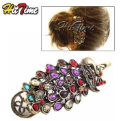 Retro Colourful Vintage Alloy Crystal Jewellery Peacock Hairpin Hair Clip Bronze #8897