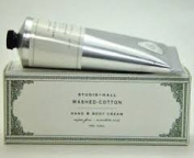 Studio Hall Washed Cotton Hand & Body Cream, Super Fine, Moisture Rich 100G100ml Tube by k. hall Studio Inc.