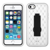 MyBat ASMYNA iPhone 5c Symbiosis Stand Protector Cover with Diamonds - Retail Packaging - Black/White