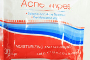 30 Ct Acne Moisturising & Cleansing Pre-Moistened Clean Clear Skin Wipes
