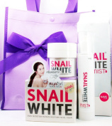 Snail White Cream & Snail White Syn-Ake Mist with Purple Bag Whitening and Acne Treatment Set Plus