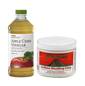 Aztec Secret Indian Healing Clay 1 lb bundled with GNC SuperFoods Raw Apple Cider Vinegar 470ml