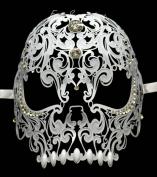 New Unisex All Metal Skull Mask Laser Cut Venetian Halloween Masquerade Mask Costume Extravagant Inspire Design - White