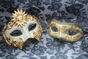 Matching Gold Lace Venetian Half Face Masquerade Mask BAll For Men and Women
